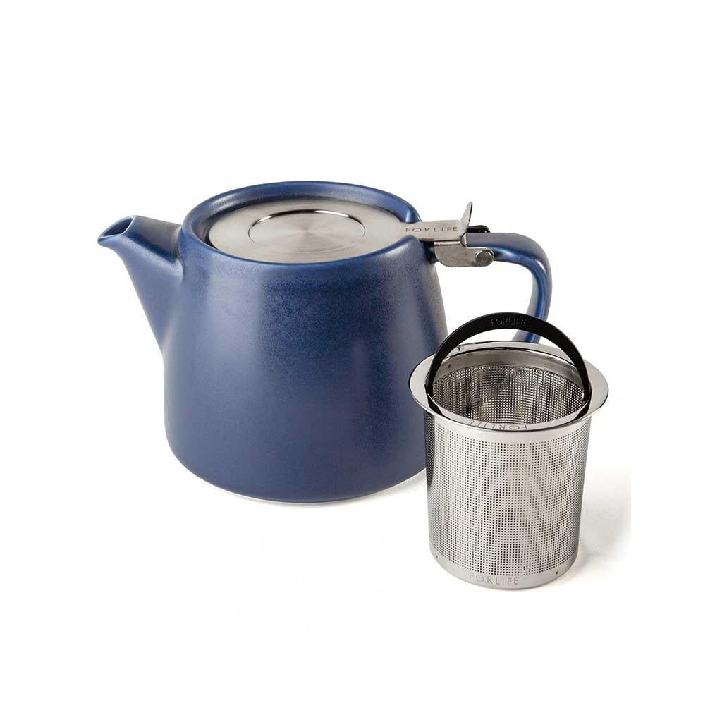 Artisan Stump Ceramic Teapot with Infuser 18oz Indigo Blue