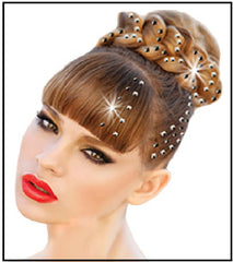 Mia® Crown Jewels Metal Studs - on model in updo hairstyle - designed by #MiaKaminski of Mia Beauty