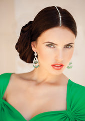 Mia® Part Art® the first accessory for the part - on model in green dress - invented by #MiaKaminski of Mia Beauty