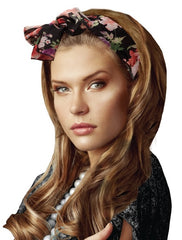 Mia® Scarf Switch-a-roo Headband, Scarf, Belt 3 in 1 - black floral shown on model - by #MiaKaminski of Mia Beauty