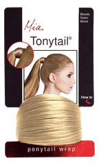 Mia® Tonytail® ponytail wrap- synthetic wig hair - blonde - on packaging - patented by #MiaKaminski CEO of Mia® Beauty