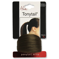 Mia® Tonytail® ponytail wrap- synthetic wig hair - medium brown - on packaging - patented by #MiaKaminski CEO of Mia® Beauty