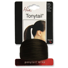 Mia® Tonytail® ponytail wrap- synthetic wig hair - dark brown - on packaging - patented by #MiaKaminski CEO of Mia® Beauty