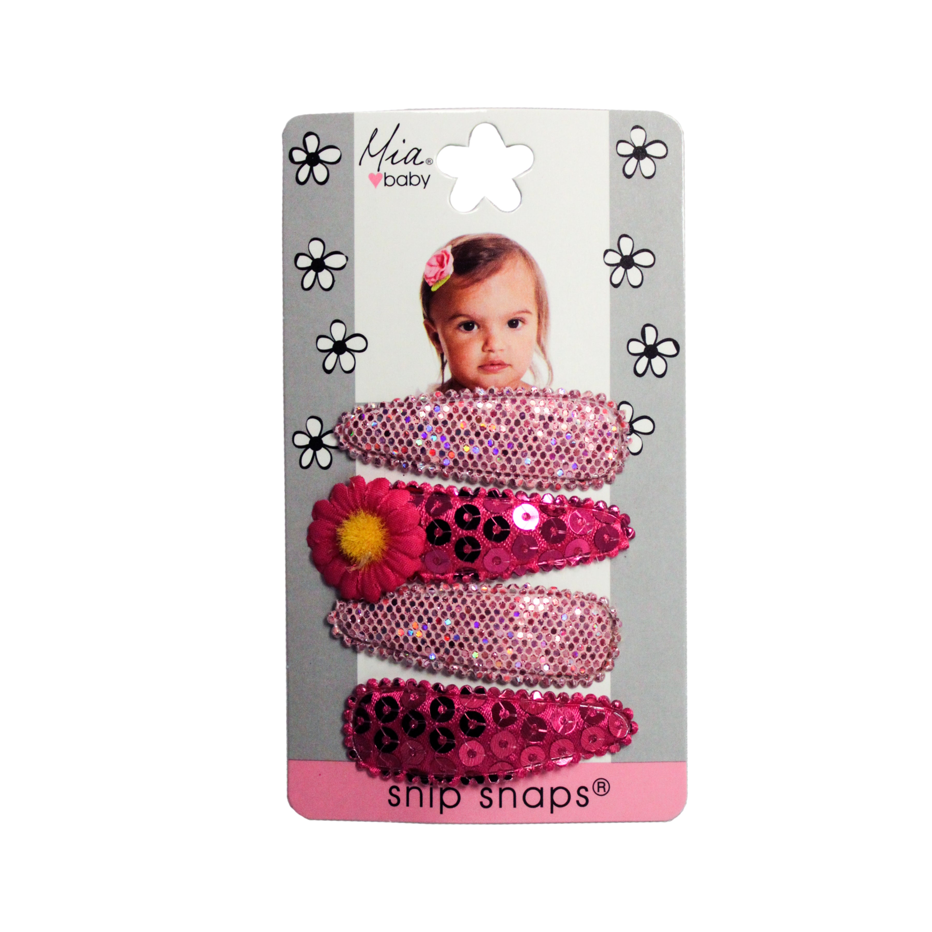 Mia® Baby Snip Snaps® with daisy - hot pink and light pink colors - shown on packaging -  invented by #MiaKaminski #MiaBeauty #Mia #Beauty #Baby #hair #hairaccessories #hairclips #hairbarrettes #love #life #girl #woman