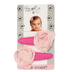 Mia® Baby Jersey Snip Snaps w/ Chiffon Rosette flowers - hot pink with light pink flowers - invented by #MiaKaminski #MiaBeauty #Mia #Beauty #Baby #hair #hairaccessories #hairclips #hairbarrettes #love #life #girl #woman