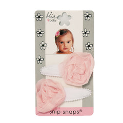 Mia® Baby Jersey Snip Snaps w/ Chiffon Rosette flowers - white with light pink flowers - invented by #MiaKaminski #MiaBeauty #Mia #Beauty #Baby #hair #hairaccessories #hairclips #hairbarrettes #love #life #girl #woman