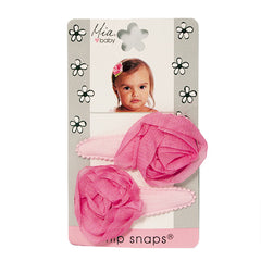 Mia® Baby Jersey Snip Snaps w/ Chiffon Rosette flowers - light pink with hot pink flowers - invented by #MiaKaminski #MiaBeauty #Mia #Beauty #Baby #hair #hairaccessories #hairclips #hairbarrettes #love #life #girl #woman