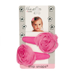 Mia® Baby Jersey Snip Snaps w/ Chiffon Rosette flowers - hot pink with hot pink flowers - invented by #MiaKaminski #MiaBeauty #Mia #Beauty #Baby #hair #hairaccessories #hairclips #hairbarrettes #love #life #girl #woman