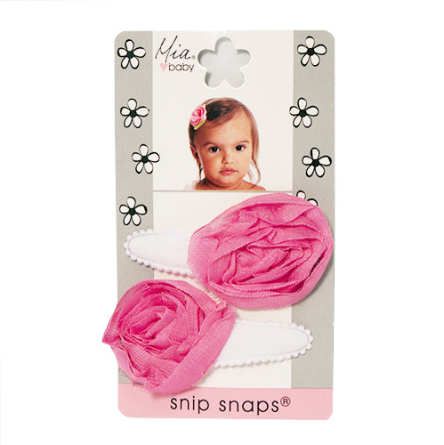 Snip Snaps® with Rosettes - White + Hot Pink