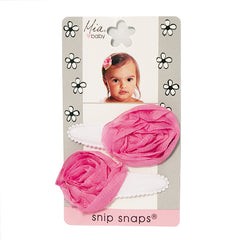 Mia® Baby Jersey Snip Snaps w/ Chiffon Rosette flowers - white with hot pink flowers - invented by #MiaKaminski #MiaBeauty #Mia #Beauty #Baby #hair #hairaccessories #hairclips #hairbarrettes #love #life #girl #woman