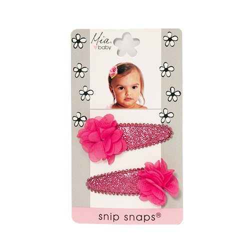 Mia® Baby Snip Snaps® with Chiffon flowers attached - hot pink and hot pink flowers - shown on packaging - invented by #MiaKaminski #MiaBeauty #Mia #Beauty #Baby #hair #hairaccessories #hairclips #hairbarrettes #love #life #girl #woman