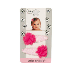 Mia® Baby Snip Snaps® with Chiffon flowers attached - light pink and hot pink flowers - shown on packaging - invented by #MiaKaminski #MiaBeauty #Mia #Beauty #Baby #hair #hairaccessories #hairclips #hairbarrettes #love #life #girl #woman