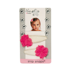 Mia® Baby Snip Snaps® with Chiffon flowers attached - white and hot pink flowers - shown on packaging - invented by #MiaKaminski #MiaBeauty #Mia #Beauty #Baby #hair #hairaccessories #hairclips #hairbarrettes #love #life #girl #woman