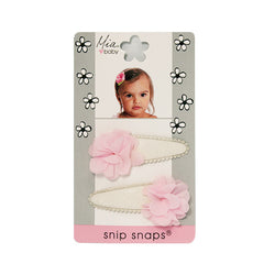 Mia® Baby Snip Snaps® with Chiffon flowers attached - white and light pink flowers - shown on packaging - invented by #MiaKaminski #MiaBeauty #Mia #Beauty #Baby #hair #hairaccessories #hairclips #hairbarrettes #love #life #girl #woman