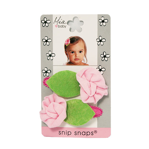 Snip Snaps® with Jersey Flower - Light Pink, Hot Pink