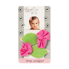 Snip Snaps® with Jersey Flower - Light Pink, Grey