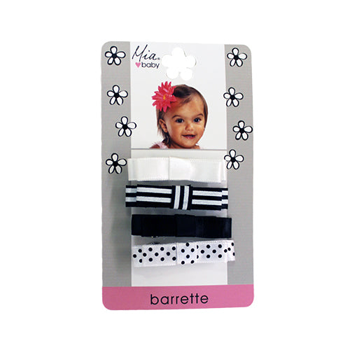 Mia® Baby Satin Barrettes - black and white mixed prints - shown on packaging - invented by #MiaKaminski #MiaBeauty #Mia #Beauty #Baby #hair #hairaccessories #hairclips #hairbarrettes #love #life #girl #woman