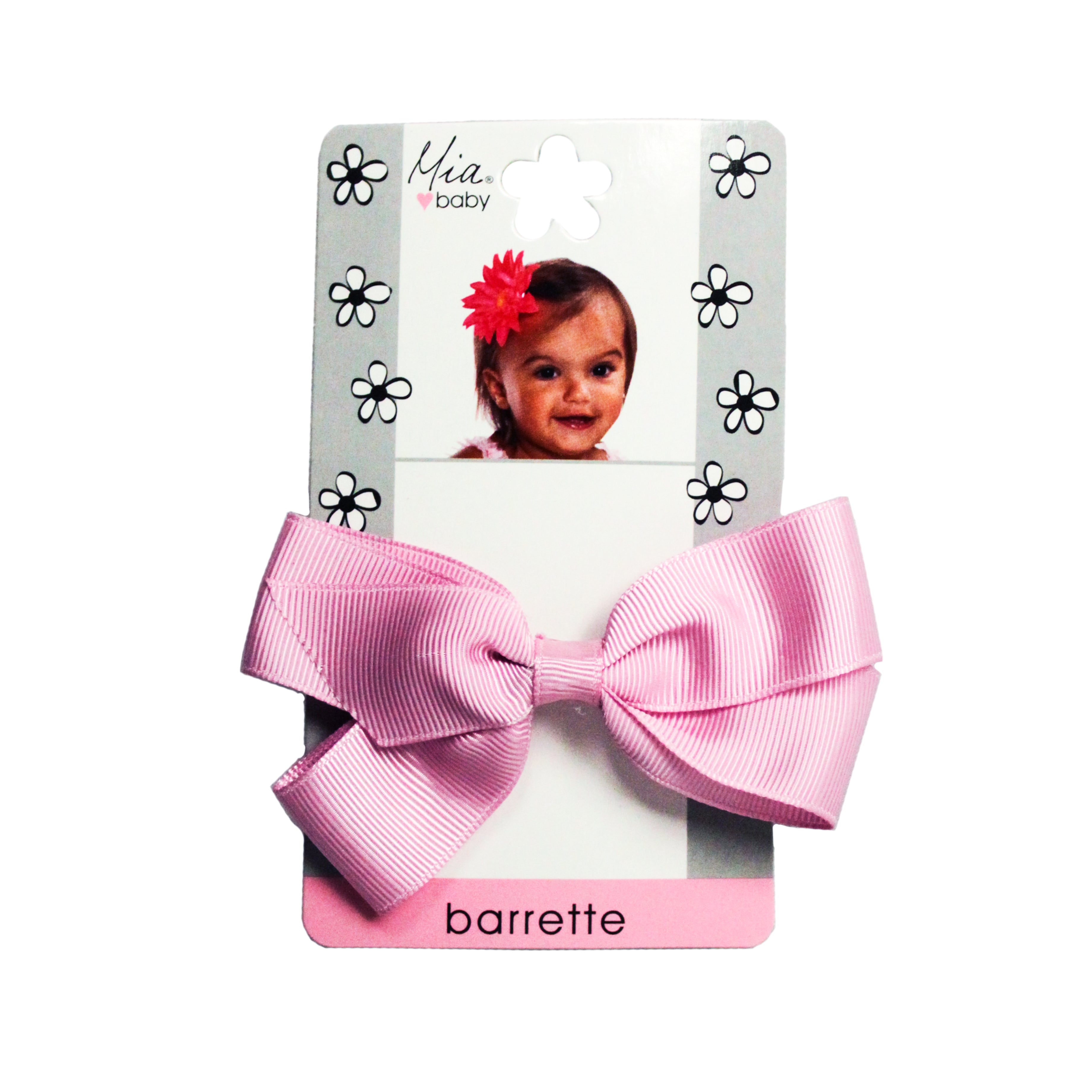 Mia® Baby Grosgrain Bow Barrette - pink color - shown on packaging - by #MiaKaminski #Mia #MiaBeauty #beauty #hair #HairAccessories #baby #girlhairaccessories #hairclips #hairbarrettes #barrette #lovethis #love #life #woman