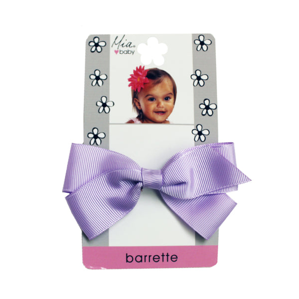 Grosgrain Bow Barrette - Light Purple