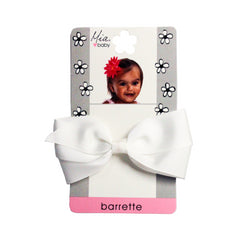 Mia® Baby Grosgrain Bow Barrette - white color - shown on packaging - by #MiaKaminski #Mia #MiaBeauty #beauty #hair #HairAccessories #baby #girlhairaccessories #hairclips #hairbarrettes #barrette #lovethis #love #life #woman