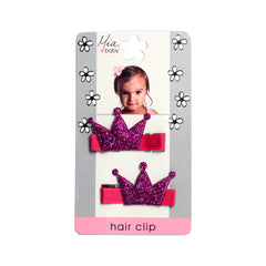 Mia® Baby Glitter Crown Hair Clips - hot pink w/ hot pink crown - designed by #MiaKaminski #Mia #MiaBeauty #beauty #hair #HairAccessories #baby #girlhairaccessories #hairclips #hairbarrettes #barrette #lovethis #love #life #woman