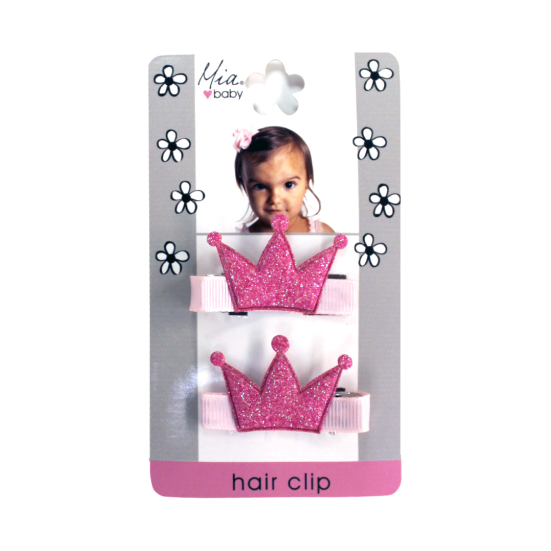 Mia® Baby Glitter Crown Hair Clips - light pink w/ bubblegum pink crown - designed by #MiaKaminski #Mia #MiaBeauty #beauty #hair #HairAccessories #baby #girlhairaccessories #hairclips #hairbarrettes #barrette #lovethis #love #life #woman