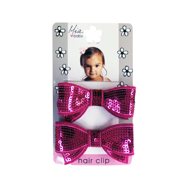 Sequin Bow Hair Clips - Hot Pink