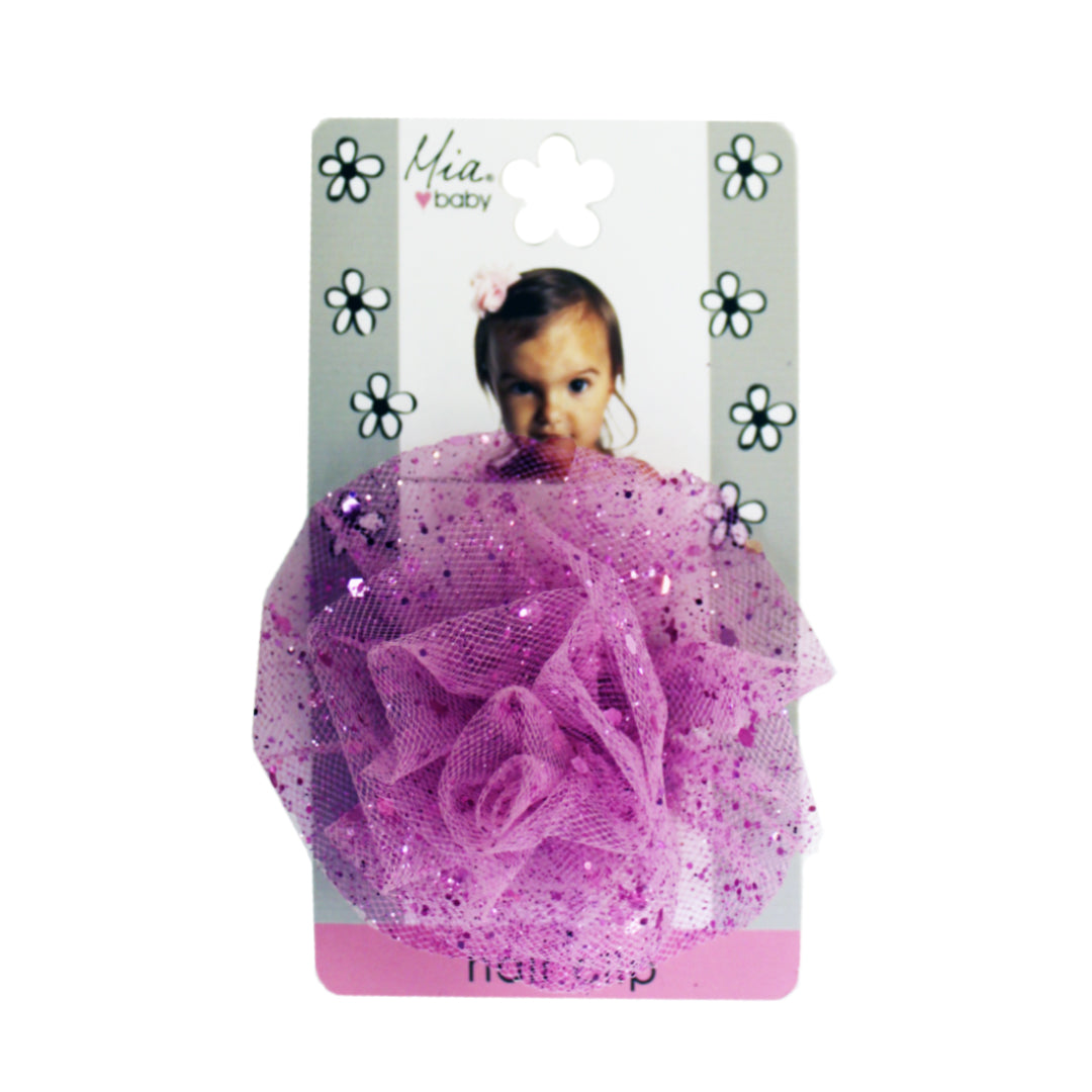 Mia® Baby Sparkly Tulle Rosette Flower Barrette - hot pink color - by #MiaKaminski #Mia #MiaBeauty #beauty #hair #HairAccessories #baby #girlhairaccessories #hairclips #hairbarrettes #barrette #lovethis #love #life #woman