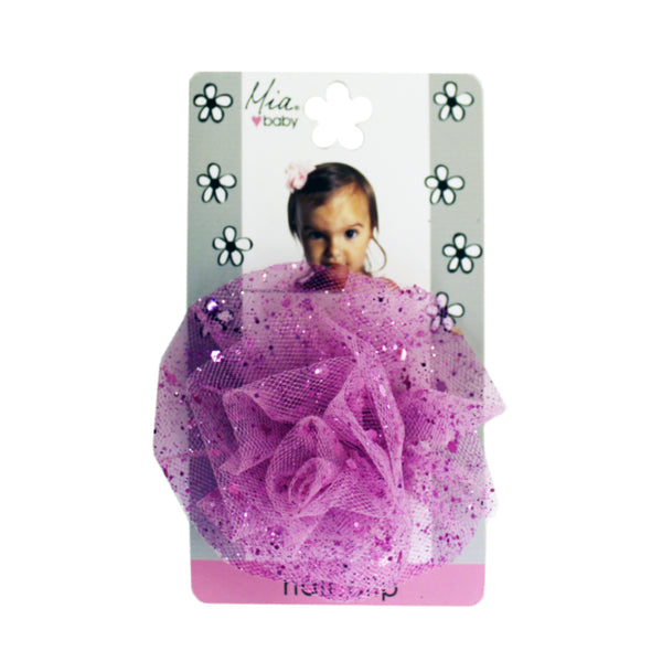 Sparkly Tulle Hair Clip - Hot Pink