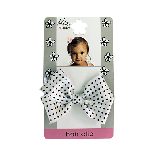 Frayed Satin Bow Hair Clip - Polka Dots