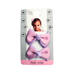 Mia Baby® Grosgrain Bow Hair Clips - purple and pink - on packaging - #EllaOnBeauty - by #MiaKaminski of Mia Beauty