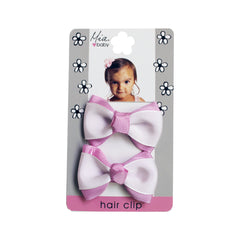 Grosgrain Bow Hair Clips - White/Light Purple