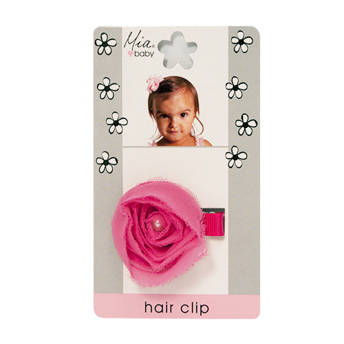 Mia® Baby Chiffon Rosette Clip  - hot pink color - #EllaOnBeauty - by #MiaKaminski #Mia #MiaBeauty #beauty #hair #HairAccessories #baby #girlhairaccessories #hairclips #hairbarrettes #barrette #lovethis #love #life #woman
