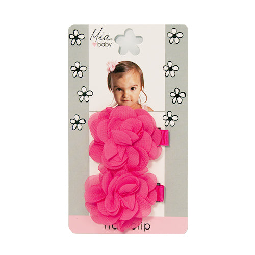 Chiffon Flower Hair Clips - Hot Pink