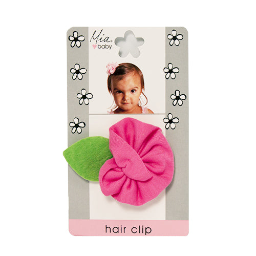Jersey Flower Hair Clip - Hot Pink