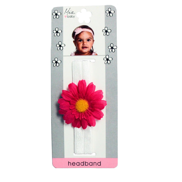 Daisy Headband - White + Hot Pink