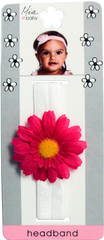 Flower Girl Daisy Headband - Hot Pink Daisy on Light Pink Band