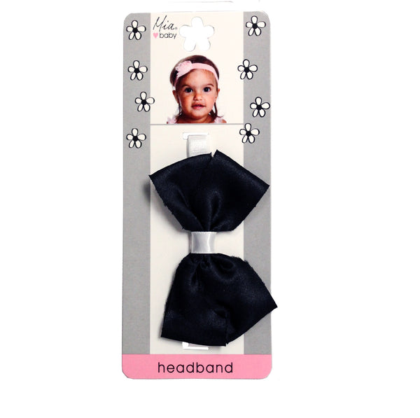 Frayed Satin Bow Headband - Black