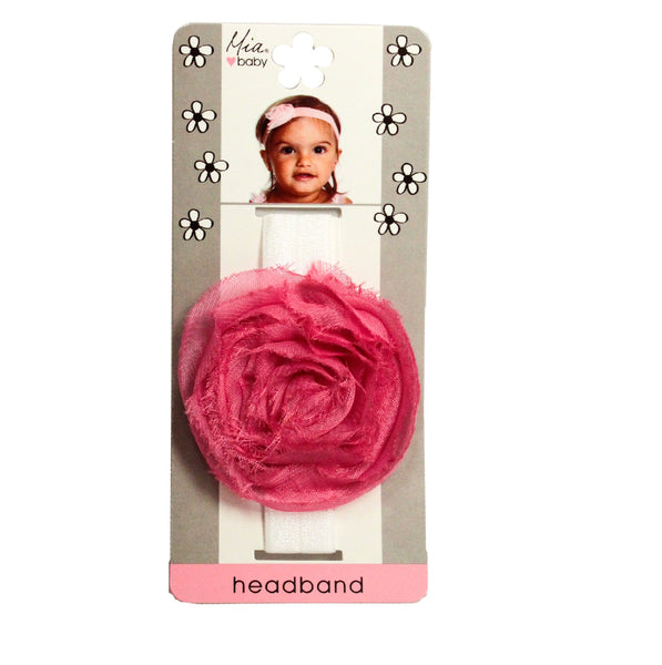 Organza Rosette Headband - White + Hot Pink