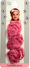 Chiffon Rosette Headband - Hot Pink with Hot Pink band