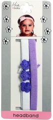 Crochet Flower Jersey Headband - Purple Flowers with White and Purple Bands