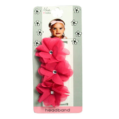 Mia® Baby Chiffon Flower Headband - white headband and hot pink flowers - shown on packaging - invented by #MiaKaminski #MiaBeauty #Mia #Beauty #Baby #hair #hairaccessories #hairclips #hairbarrettes #love #life #girl #woman