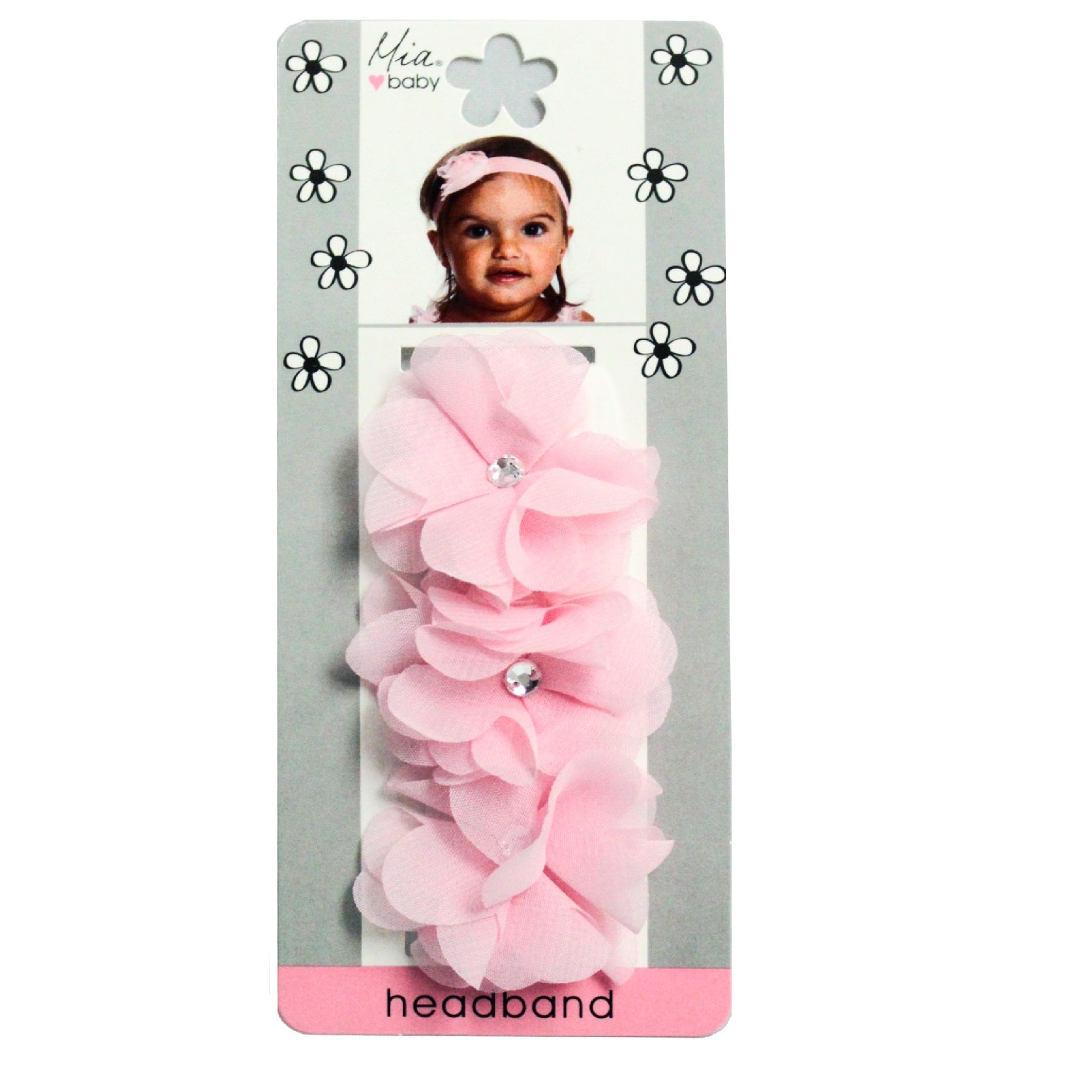 Mia® Baby Chiffon Flower Headband - light pink headband and light pink flowers - shown on packaging - invented by #MiaKaminski #MiaBeauty #Mia #Beauty #Baby #hair #hairaccessories #hairclips #hairbarrettes #love #life #girl #woman