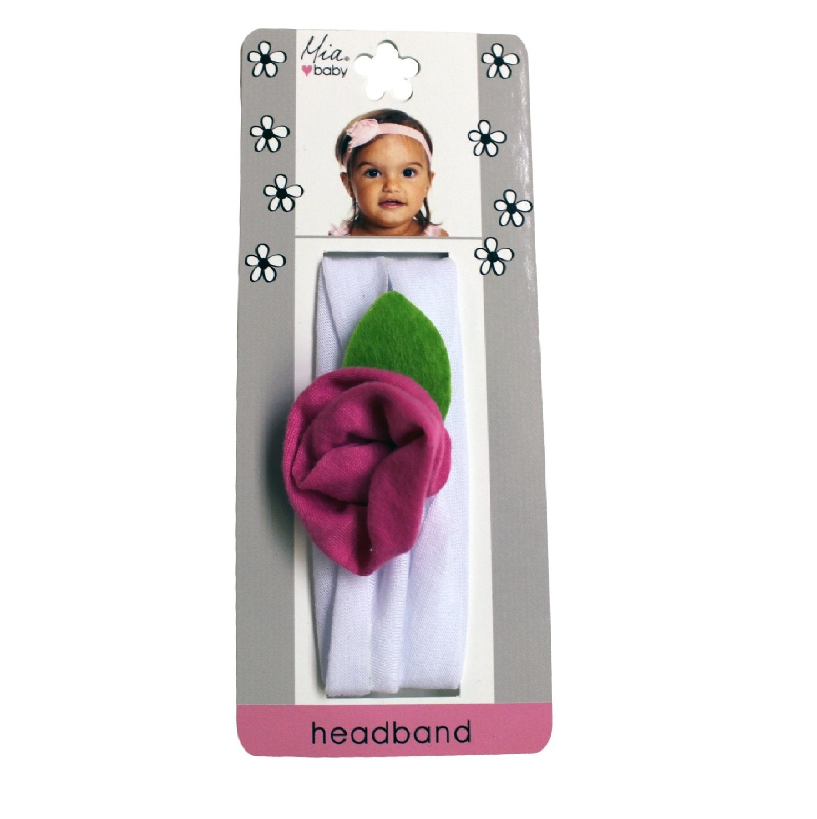 Mia® Baby Jersey Flower Headband - white band with hot pink flower - shown on packaging - invented by #MiaKaminski #MiaBeauty #Mia #Beauty #Baby #hair #hairaccessories #hairclips #hairbarrettes #love #life #girl #woman