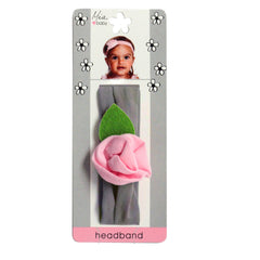 Mia® Baby Jersey Flower Headband - gray band with light pink flower - shown on packaging - invented by #MiaKaminski #MiaBeauty #Mia #Beauty #Baby #hair #hairaccessories #hairclips #hairbarrettes #love #life #girl #woman