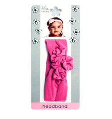 Mia® Baby Jersey Headband - hot pink flowers - shown on packaging - invented by #MiaKaminski #MiaBeauty #Mia #Beauty #Baby #hair #hairaccessories #hairclips #hairbarrettes #love #life #girl #woman