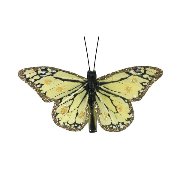 Butterfly Clips - Yellow Monarch Butterfly Gold Glitter