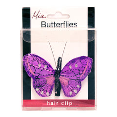 Mia® Butterfly Barrette  - purple color - 1 piece - shown in display case packaging - by #MiaKaminski #Mia #MiaBeauty #Beauty #Hair #HairAccessories #barrettes #hairclips  #jawclampsforhair #lovethis #love #life #metallichairclips #silver