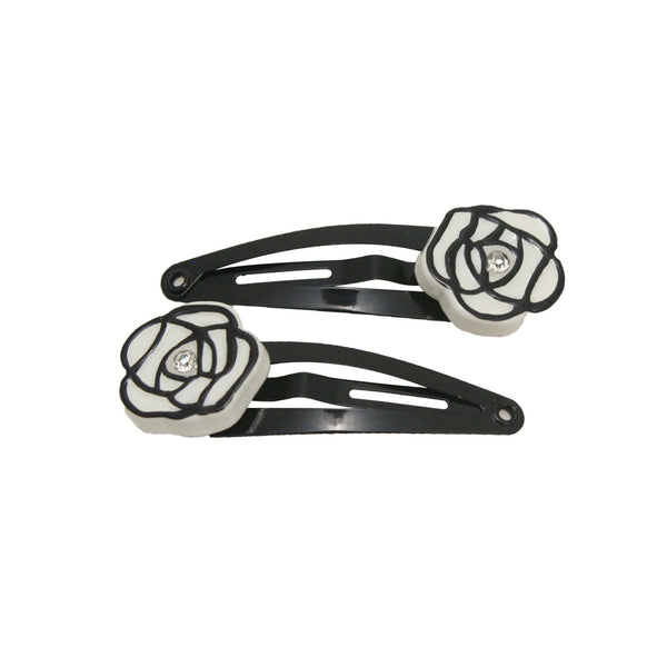 Snip Snaps® - White Roses with Black Trim