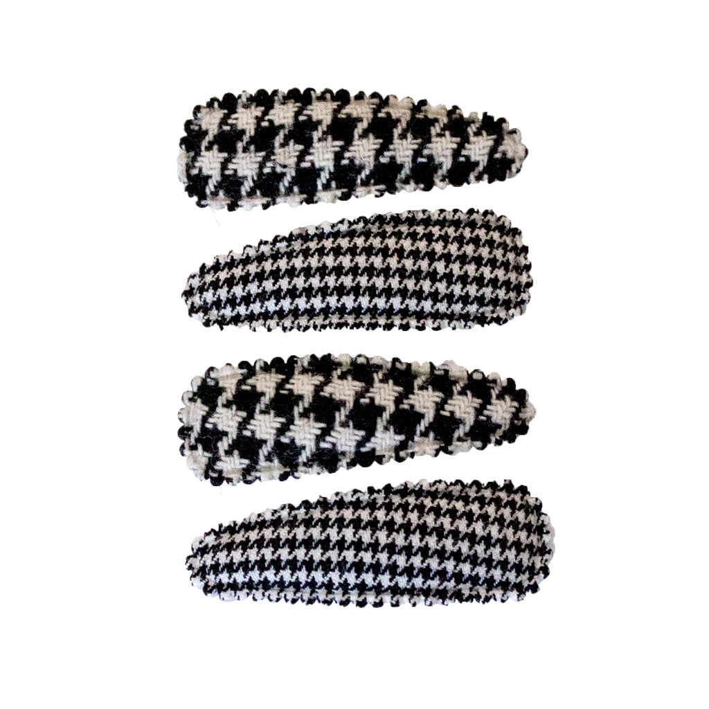 Mia® Baby Snip Snaps® with daisy - black and white houndstooth print - invented by #MiaKaminski of #MiaBeauty
